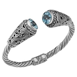 Blue Topaz Sterling Silver Sky's Heart Cawi Cuff Bracelet (Indonesia)