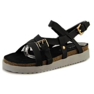 N.Y.L.A. Women's Samson Black Leather Sandals