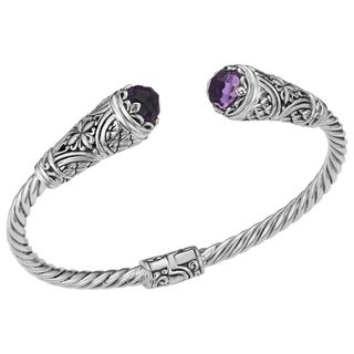 Amethyst Sterling Silver Floral Paradise Cawi Cuff Bracelet (Indonesia)