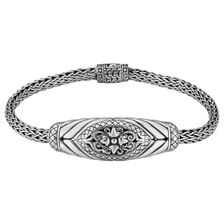 Sterling Silver Bali Flora 7.5-inch Long Cawi Bracelet (Indonesia)