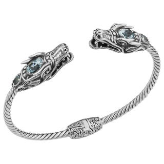 Handmade Blue Topaz Sterling Silver Ancient Dragon Cawi Cuff Bracelet (Indonesia)
