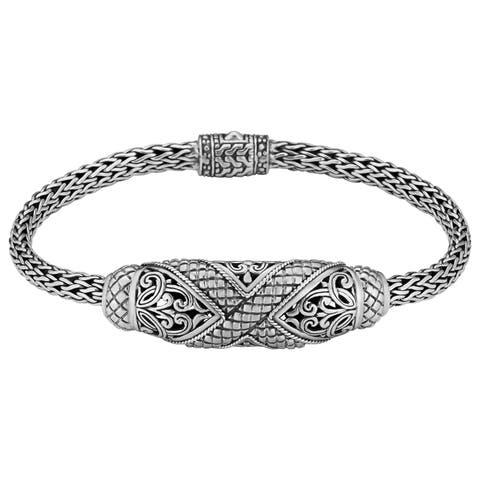 "Sterling Silver Bali Breeze 7.5"" Long Cawi Bracelet (Indonesia)"