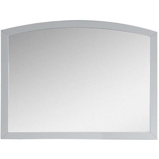 35.43-in. W x 25.6-in. H Modern Birch Wood-Veneer Wood Mirror In White