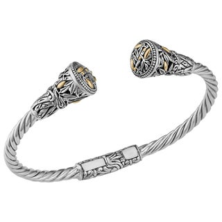 Handmade 18K Yellow Gold and Sterling Silver Deep Forest Cawi Cuff Bracelet (Indonesia)