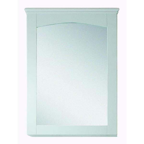 24-in. W x 31.5-in. H Modern Plywood-Veneer Wood Mirror In White