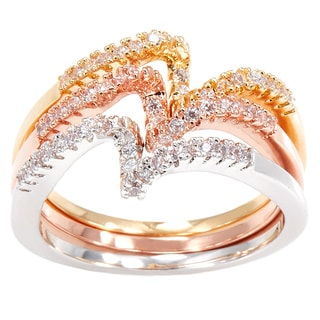 Simon Frank Stackable Tri-color Yellow/ Rose and Rhodium Overlay CZ Bands