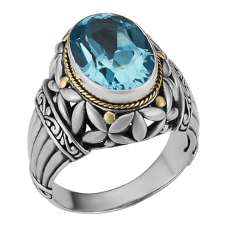 Blue Topaz 18K Gold Sterling Silver Balinese Lagoon Cawi Ring (Indonesia)