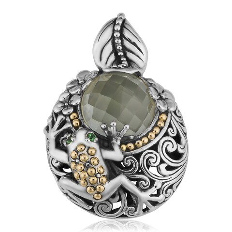 Handmade Green Amethyst Gold and Silver Tropical Frog Pendant (Indonesia)