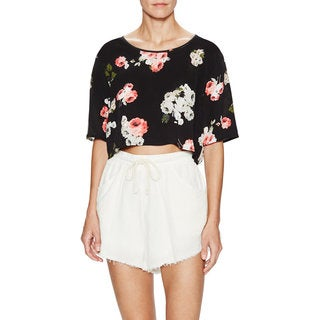 Minkpink Moon Flower Black Floral Crop Top