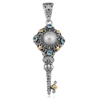 18K Gold Sterling Silver Mabe Pearl and Topaz 'Key to Love' Pendant (Indonesia)