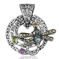 Handmade Gold and Silver Gemstone Dragonfly Cawi Pendant (Indonesia)