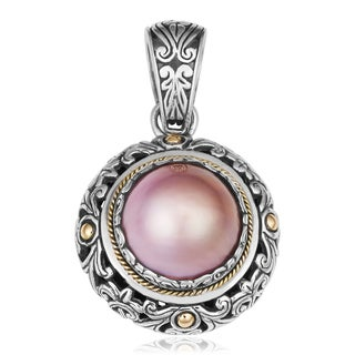 18K Gold and Sterling Silver Mabe Pearl Eternal Garden Cawi Pendant (Indonesia)