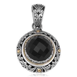18K Gold and Sterling Silver Black Onyx Eternal Garden Cawi Pendant (Indonesia)
