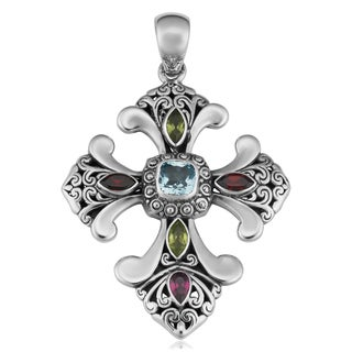 Sterling Silver Multi-Gemstone Glorious Faith Cawi Pendant (Indonesia)