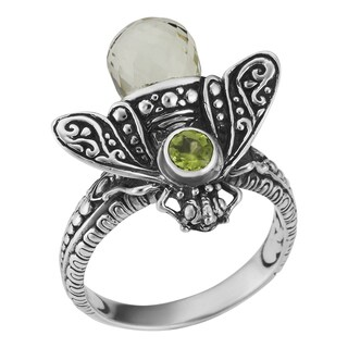 Prasiolite and Peridot Sterling Silver Queen Bee Cawi Ring (Indonesia)