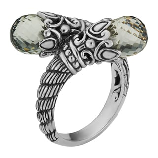 Prasiolite Sterling Silver 'Daenerys' Crossover Cawi Ring (Indonesia)