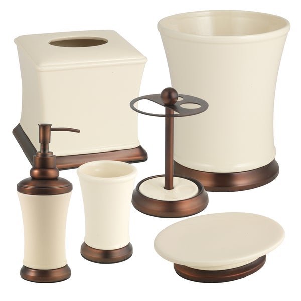 Hand Crafted Beige Ceramic and Copper Bath Collection Set or Separates