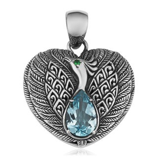 Blue Topaz Sterling Silver Majestic Peacock Cawi Heart Pendant (Indonesia)