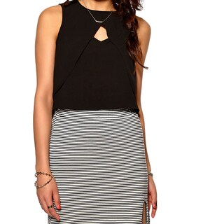 Minkpink Ray of Light Women's Black Viscose Layered Sleeveless Top