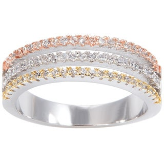 Simon Frank Tri-color Yellow/ Rose/ Rhodium Overlay CZ Wedding Band - Silver