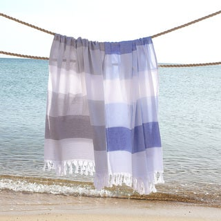 Authentic Pestemal Fouta Aquarius Striped Turkish Cotton Bath and Beach Towel