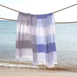 Authentic Pestemal Fouta Aquarius Striped Turkish Cotton Bath and Beach Towel