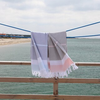 Authentic Pestemal Fouta Bay Multicolor Turkish Cotton Striped Bath/Beach Towel (2 options available)