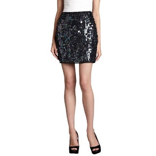 Elie Tahari Women's Alexis Sequin Black Silk Mini Skirt