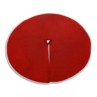 Passion Suede Cinnabar/White/Red Polyester Trimmed Tree Skirt