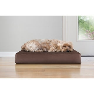 Furhaven Dog Snuggle Terry Multicolored Polyester Suede Cooling Gel-top Memory Orthopedic Dog Bed