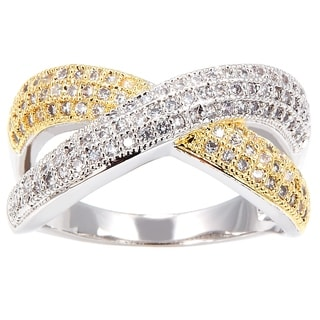 Simon Frank Two-tone Yellow/ Rhodium Overlay CZ Infinity Ring