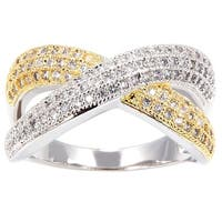 Simon Frank Two-tone Yellow/ Rhodium Overlay CZ Infinity Ring - Multicolor