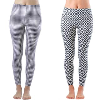 Women's Geometric Print Nylon and Spandex Legging (Set of 2)|https://ak1.ostkcdn.com/images/products/11992711/P18872625.jpg?impolicy=medium