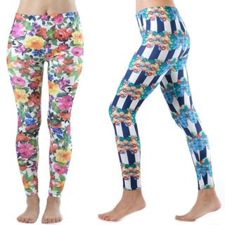 Dinamit Women's Nylon/Spandex Floral Leggings (Set of 2)