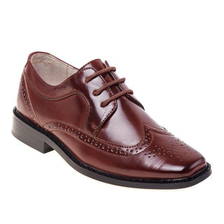 Joseph Allen Boys' Black/Brown Polyurethane Dress Shoes
