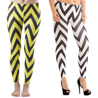 Dinamit Spandex Chevron Print Leggings (Set of 2)