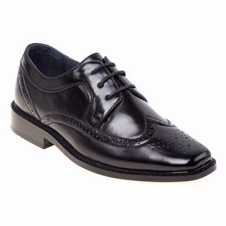 Joseph Allen Boys' Black/Brown Polyurethane Dress Shoes