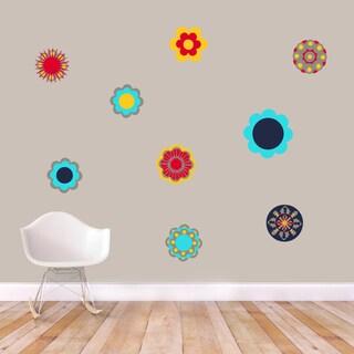 Retro Flowers Printed Vinyl Wall Decals