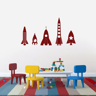 Rocket Ship Large Vinyl Wall Decals Set