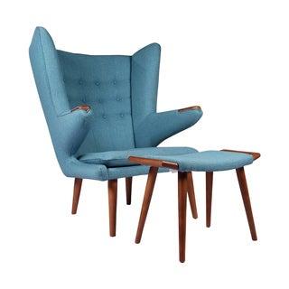 Joseph Allen Hans Wegner Inspired Papa Bear Chair and Ottoman