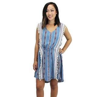 Relished Women's Blue Polyester Aztec Boho Fringe Dress