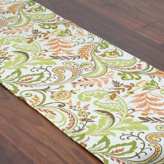 Findlay Apricot Orange/Green/Off-white Linen/Polyester 12.5-inch x 72-inch Runner