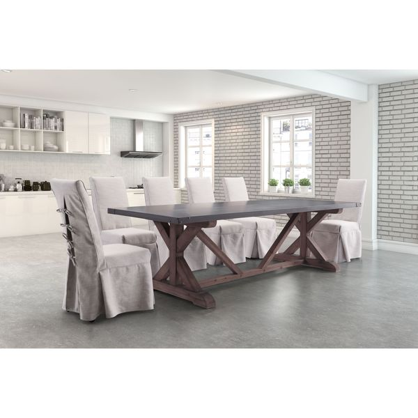 zuo durham distressed grey fir wood dining table free