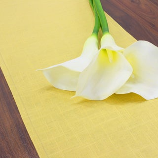 Circa Pina Solid Yellow Linen/Polyester 12.5-inch x 72-inch Table Runner
