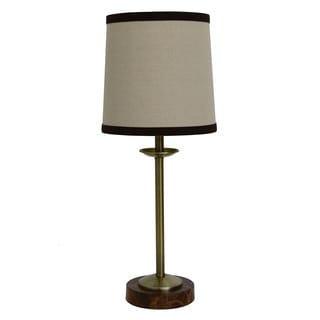 J Hunt and Company Brown Faux Marble Base Tweed Shade Table Lamp