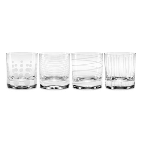 Mikasa Cheers Clear Set of 4 Double Old Fashioned Glasses