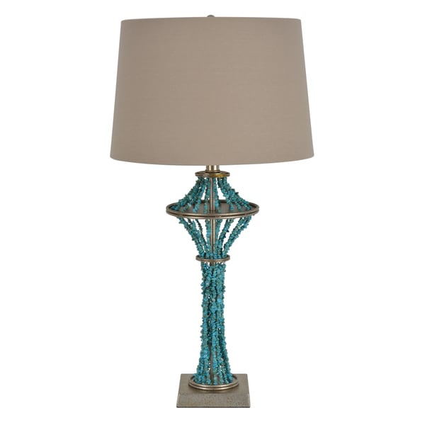 Faux Turquoise Metal Garland Table Lamp