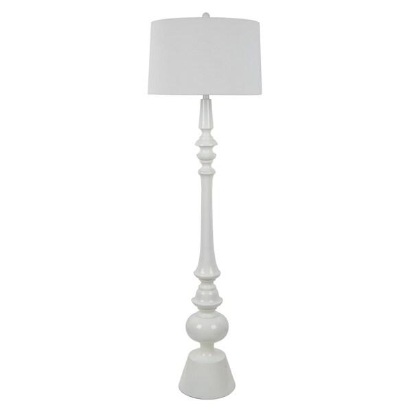 Blue/White Resin Floor Lamp With Linen Shade