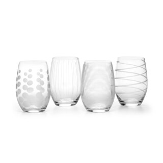 Mikasa Cheers Clear Glass Set of 4 Stemless Wine Glasses