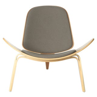 American Walnut and Grey Upholstered Shell Chair